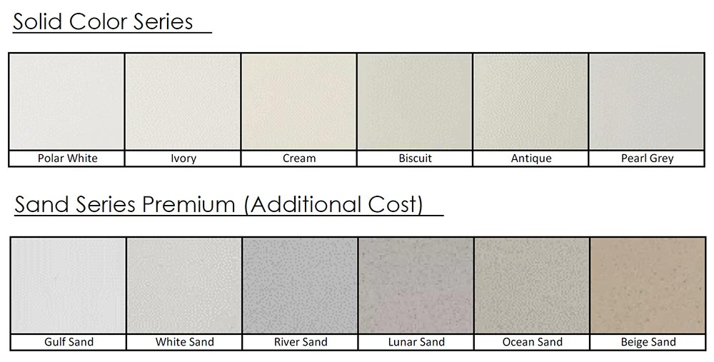 Color choices chart for shower pans